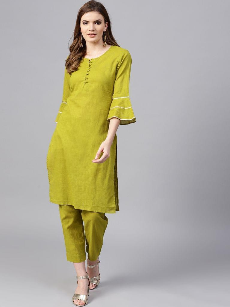 Yufta Women Green Solid Kurta with Trousers