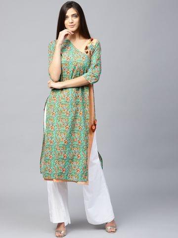 Yufta Women Green & Peach-Coloured Printed Angrakha Straight Kurta