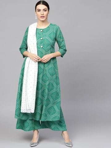 Women Green Printed Kurta with Palazzos & Dupatta