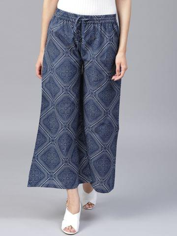 Yufta Women Navy Blue Off-White Printed Wide Leg Cropped Palazzos