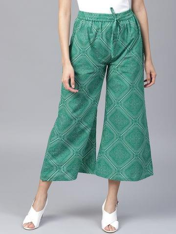 Yufta Women Green Off-White Printed Wide Leg Cropped Palazzos