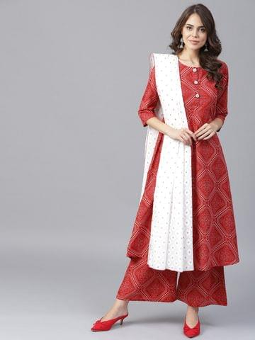 Yufta Women Rust Red White Printed Kurta with Palazzos Dupatta