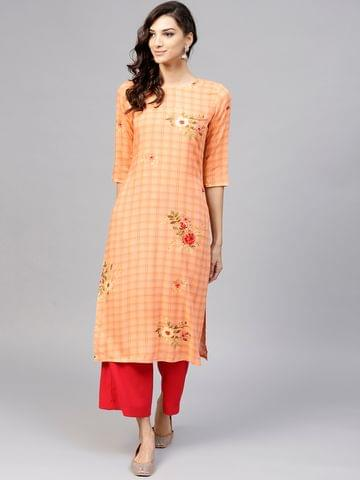 Yufta Women Peach-Coloured Checked Straight Kurta