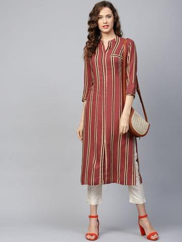 Yufta Women Mauve & Beige Striped Straight Kurta