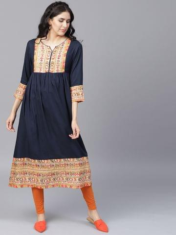 Yufta Women Navy Blue Yoke Design A-Line Kurta