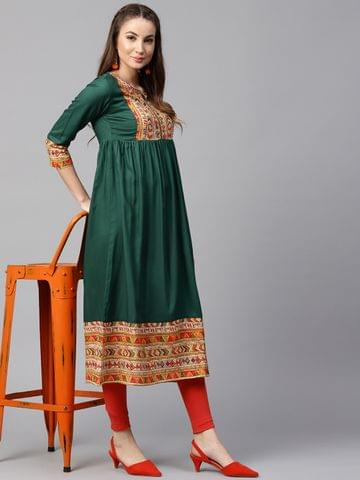 Yufta Women Green & Orange Yoke Design A-Line Kurta
