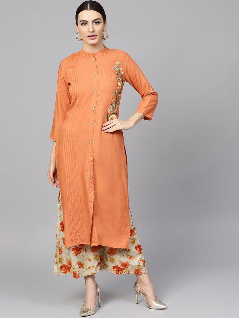 Women Orange & Beige Solid Kurta with Palazzos