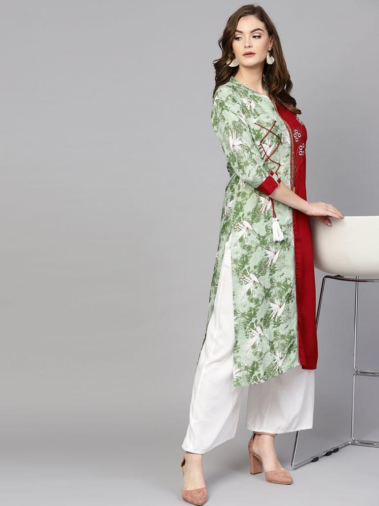 Women Green & Maroon Printed Straight Kurta