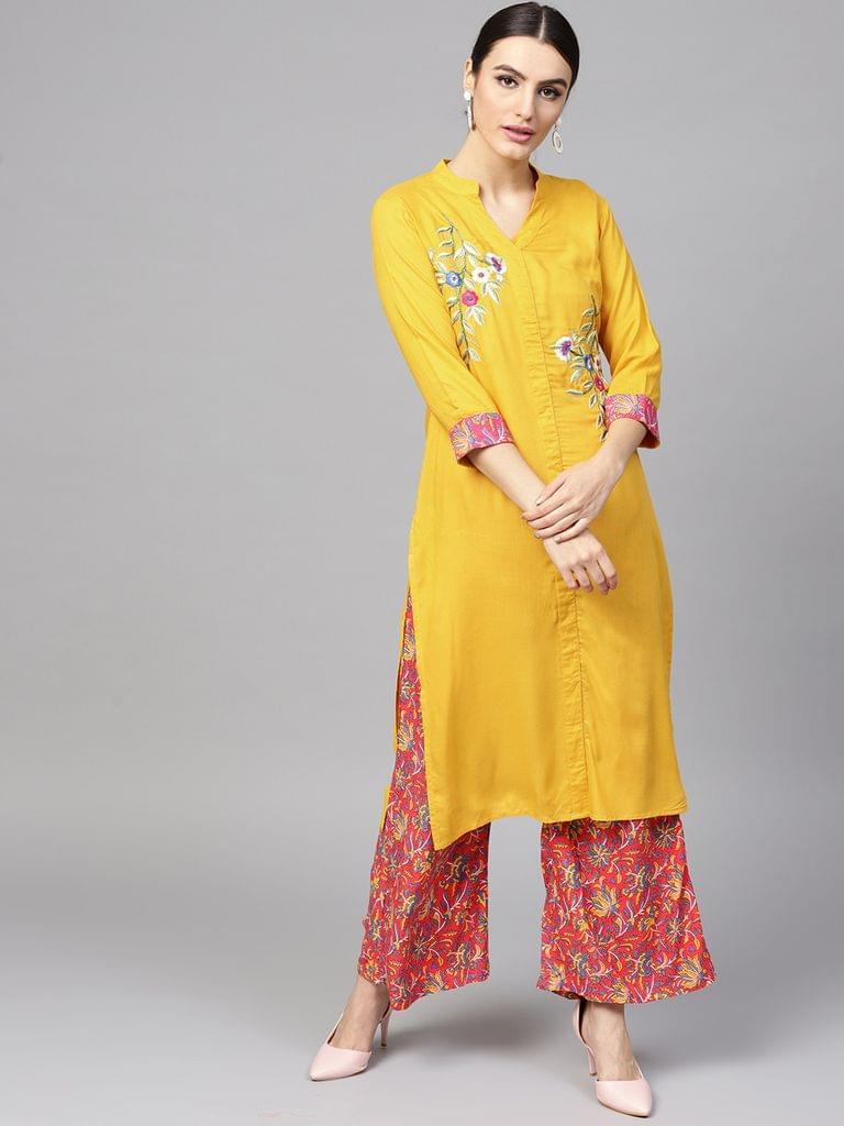 Women Mustard Yellow & Pink Solid Kurta with Palazzos