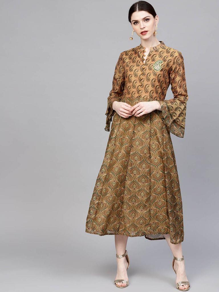 Women Mustard Brown Printed Midi A-Line Dress