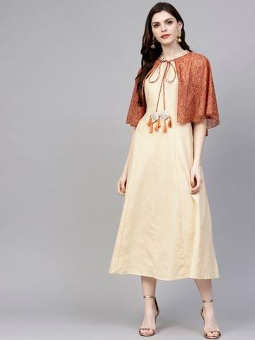 Women Cream-Coloured & Brown Solid A-Line Dress with Cape Jacket