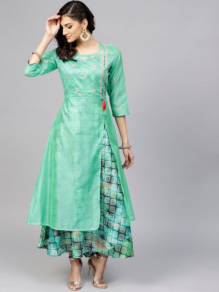 Women Green Printed Layered Maxi Dress