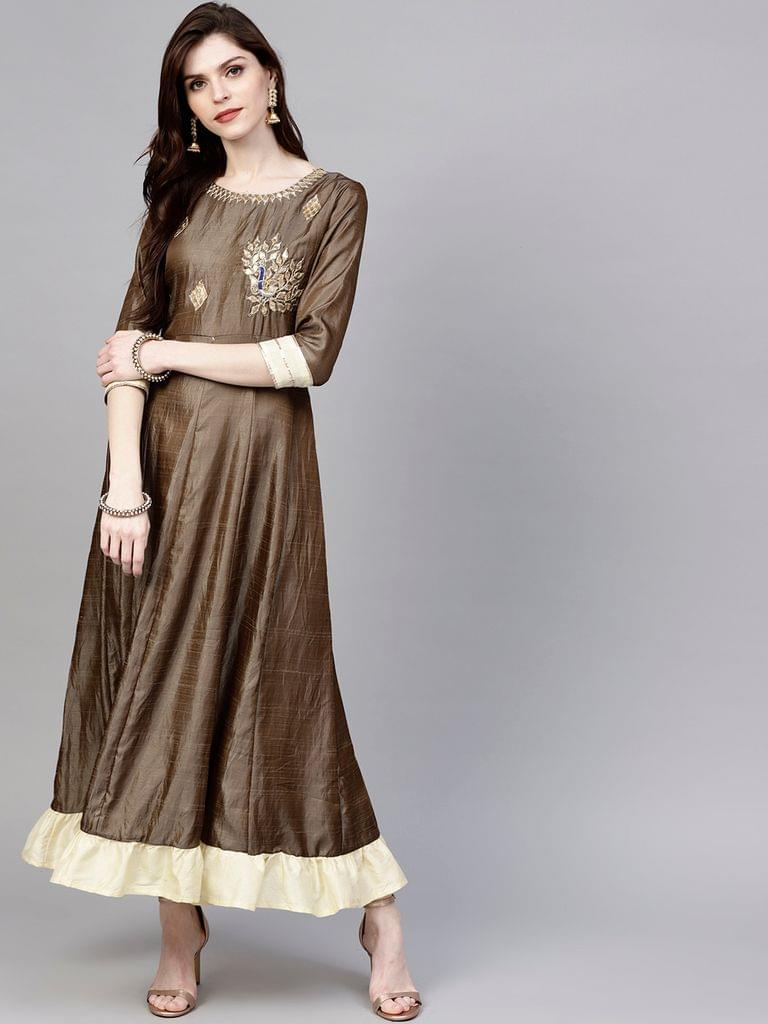 Women Brown Solid Maxi Dress with Embroidered Detail