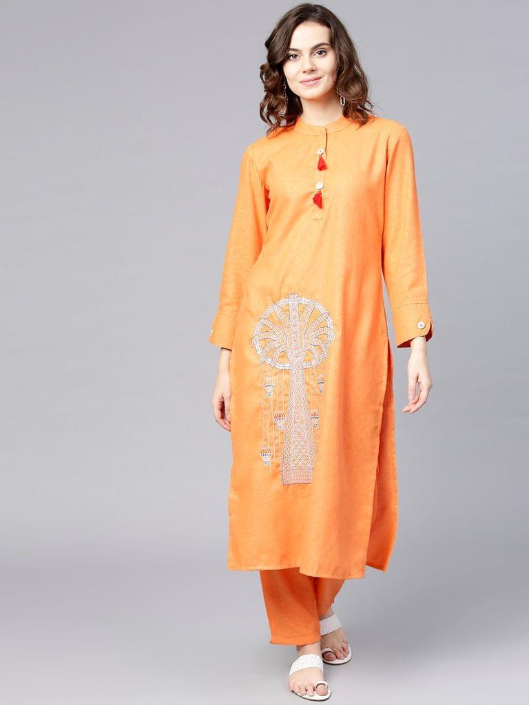Women Orange Embroidered Kurta with Trousers