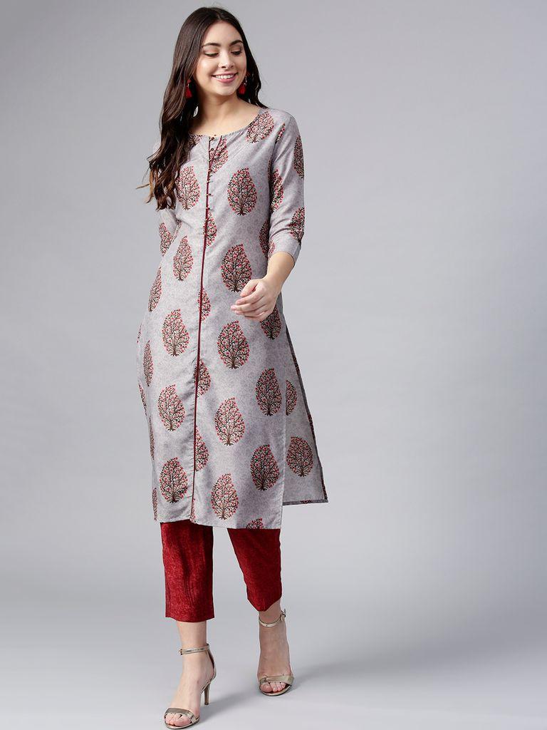 Women Grey & Maroon Printed Kurta with Trousers