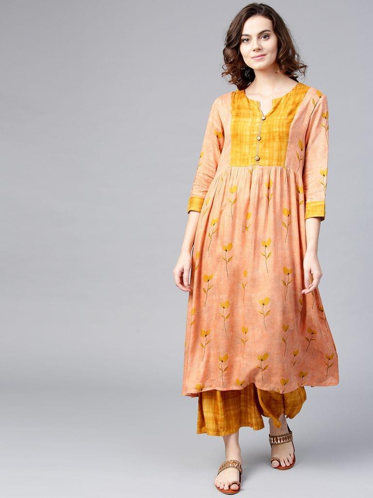 Women Peach-Coloured & Mustard Yellow Printed Kurta with Palazzos