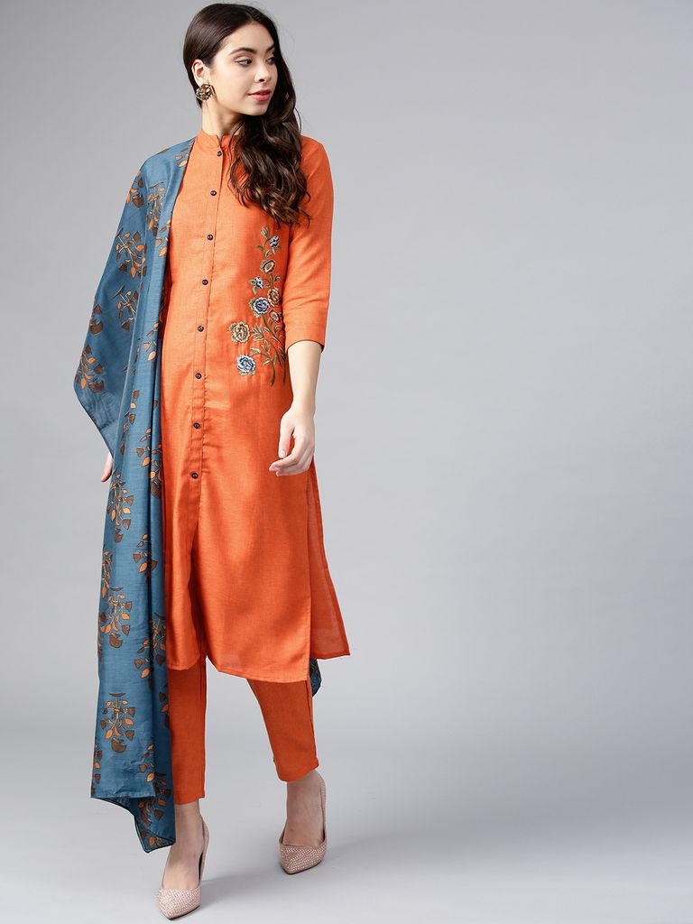 Women Tan & Blue Embroidered Kurta with Trousers & Dupatta