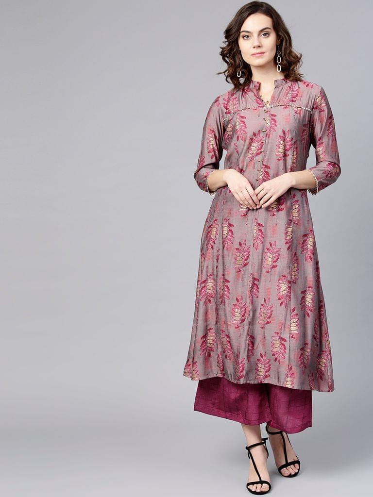 Women Pink Printed Kurta with Palazzos
