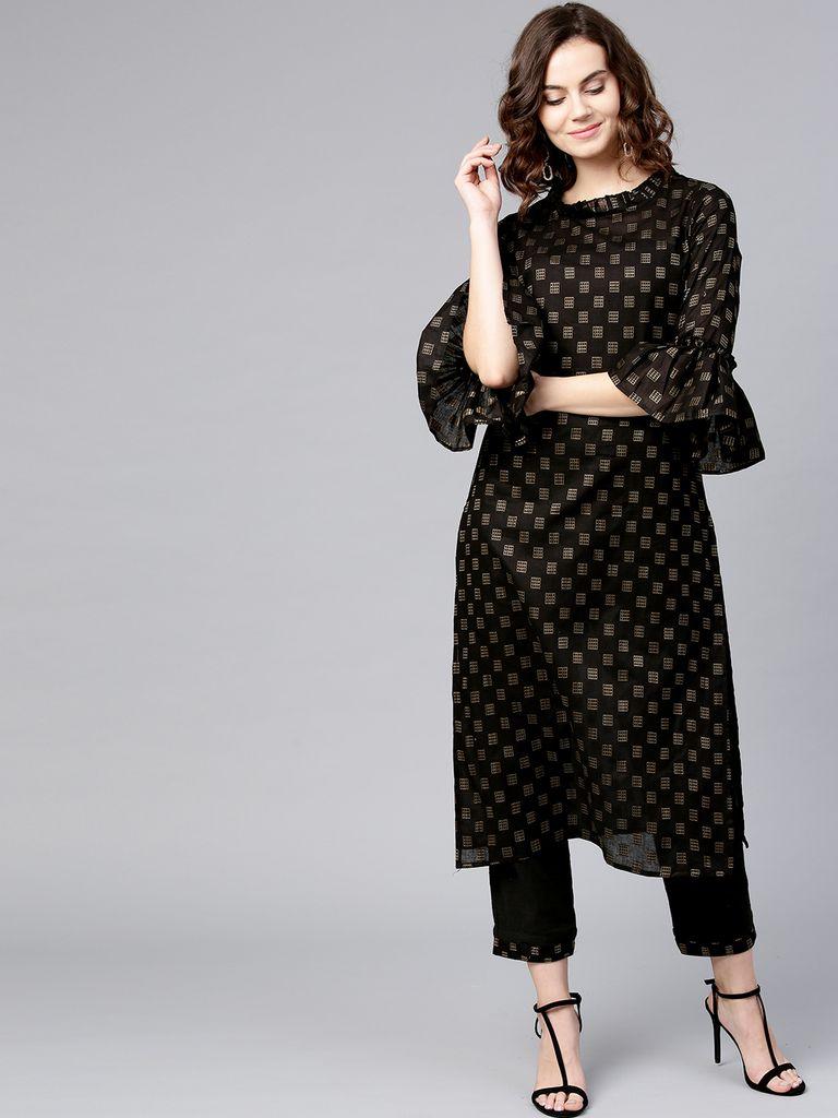 Women Black Printed Kurta with Trousers