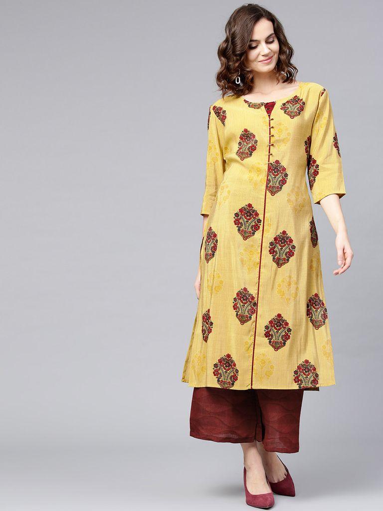 Women Mustard Yellow & Maroon Printed Kurta with Palazzos
