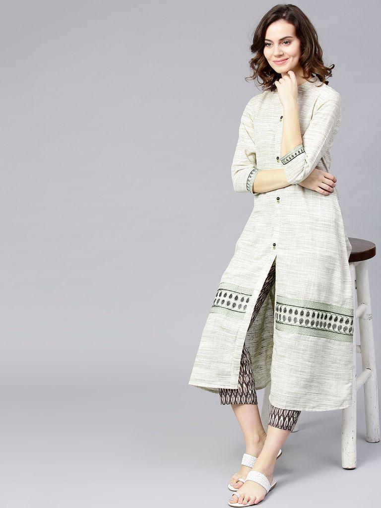 Women Off-White & Olive Green Woven Design A-Line Kurta