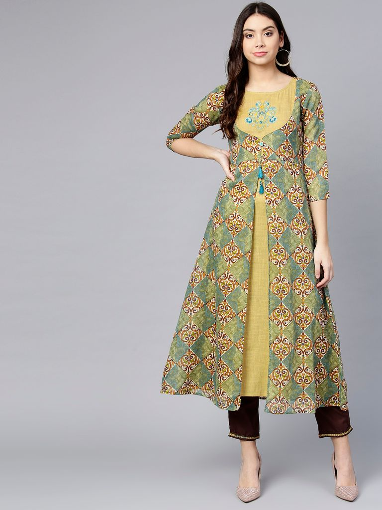 Women Beige & Olive Green Printed A-Line Layered Kurta