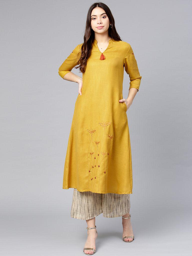 Women Mustard Yellow Solid A-Line Kurta