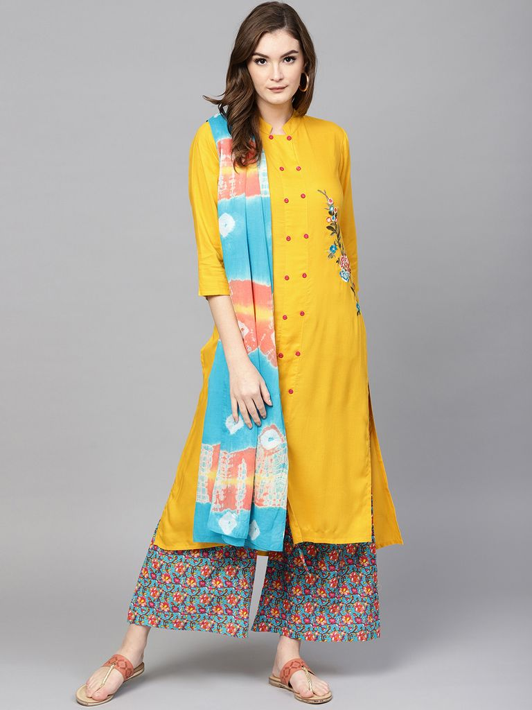 Women Mustard Yellow & Blue Solid Kurta with Palazzos & Dupatta