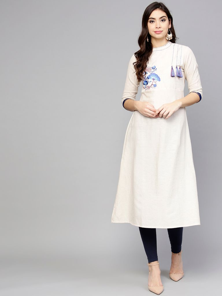 Women Off-White & Blue Embroidered A-Line Kurta