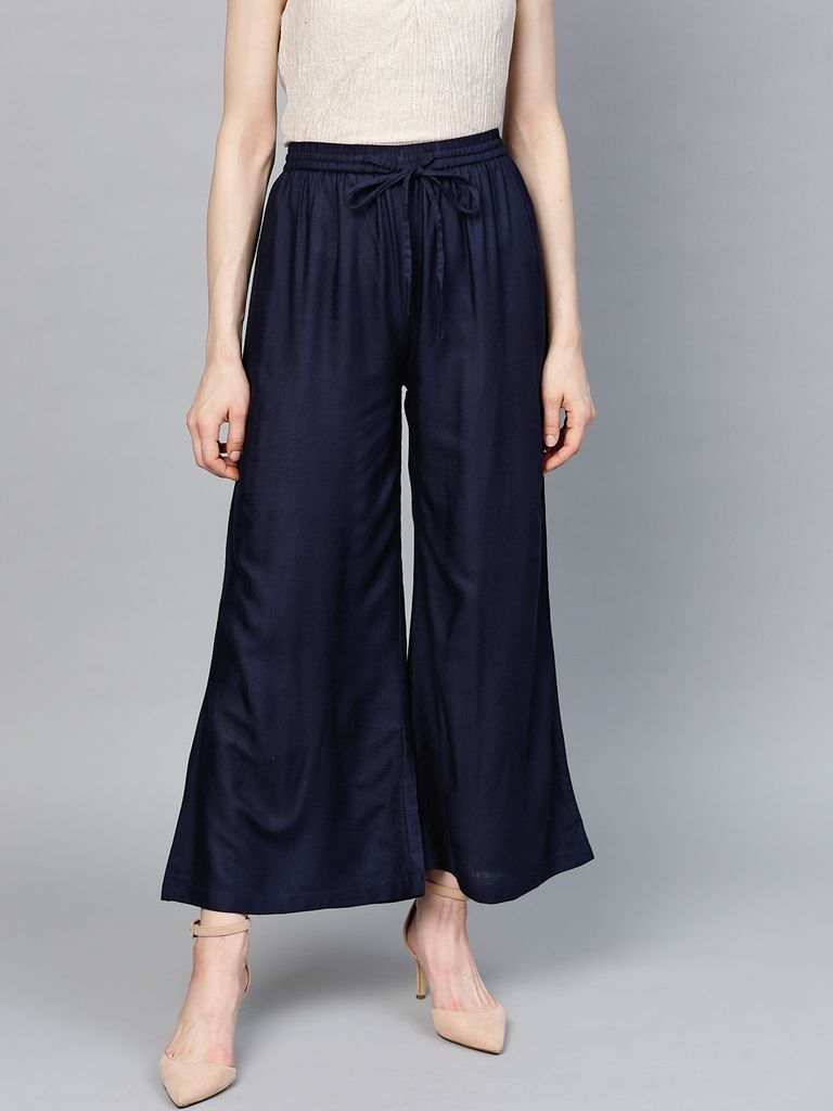 Women Navy Blue Solid Wide Leg Palazzos