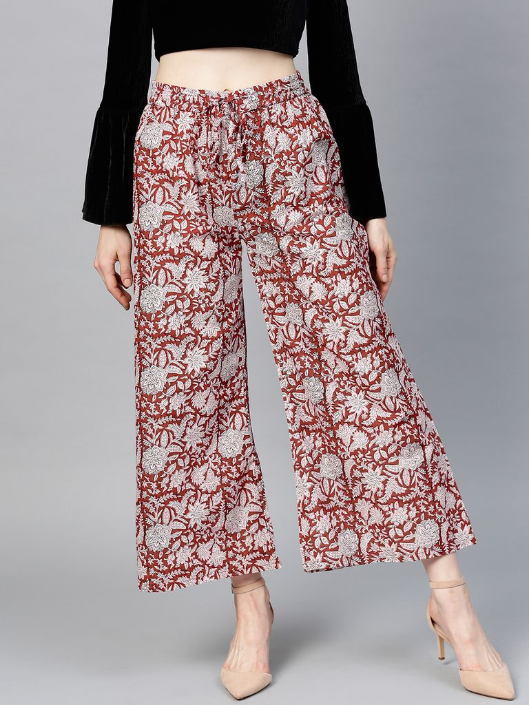 Women Maroon & Off-White Printed Wide Leg Palazzos