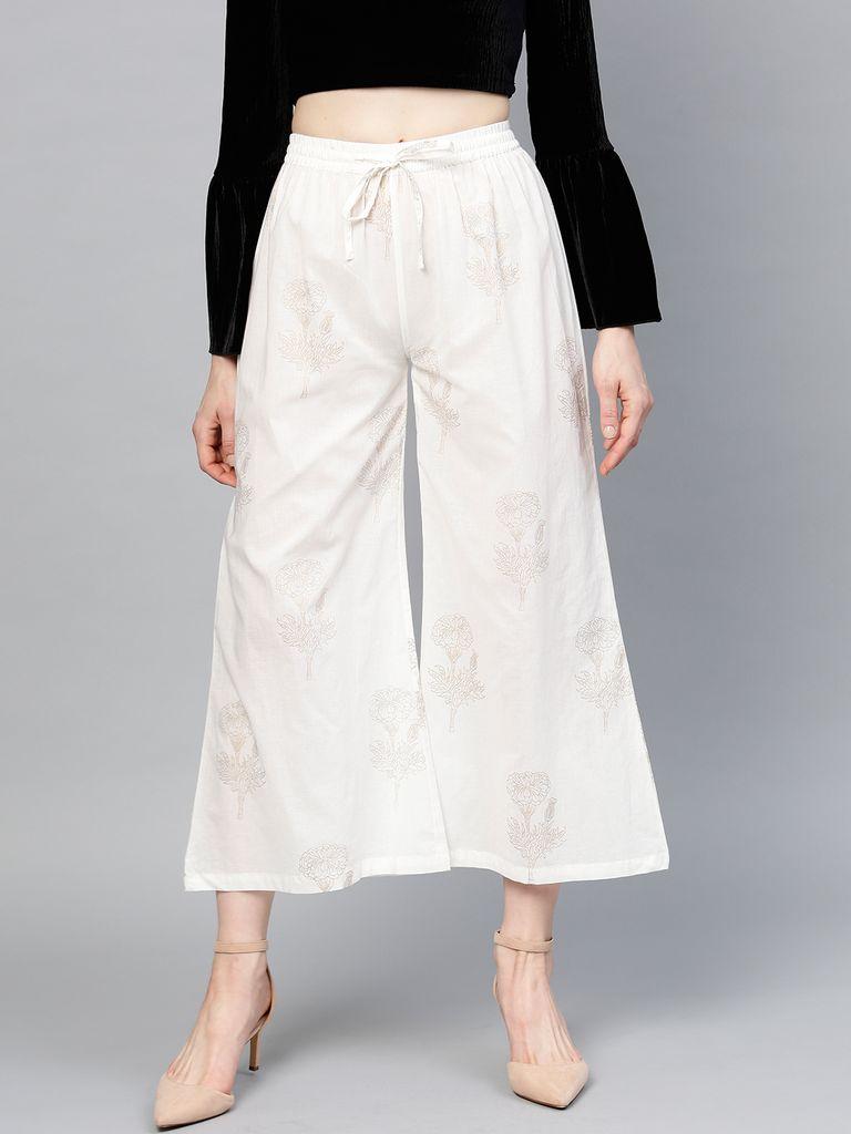 Women White & Golden Printed Wide Leg Cropped Palazzos