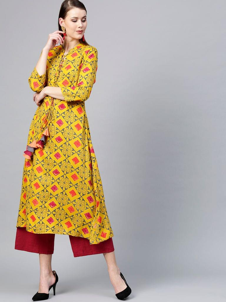 Women Mustard Yellow & Grey Printed A-Line Kurta