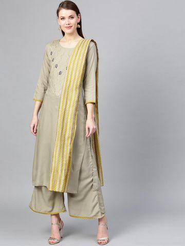 Women Grey Yoke Design Kurta with Palazzos & Dupatta