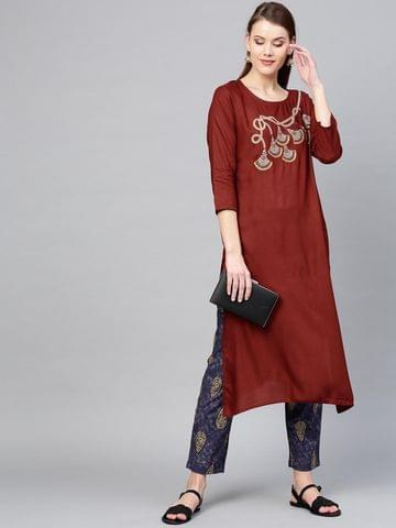 Women Maroon & Navy Yoke Design Kurta with Trousers
