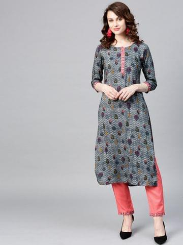 Women Grey & Coral Pink Printed Kurta with Trousers