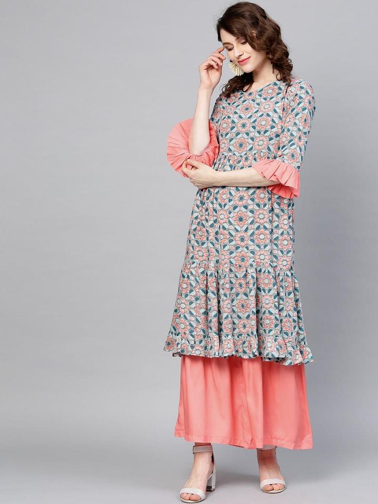 Women Blue & Peach-Coloured Printed Kurta with Sharara