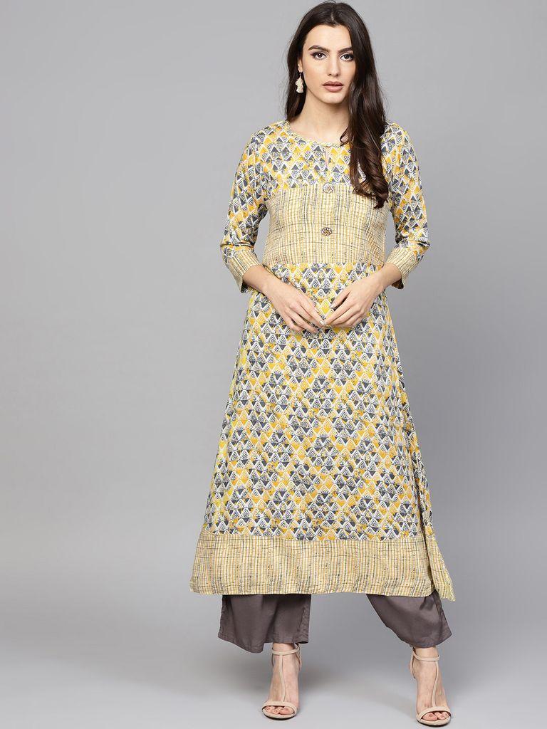 Yufta Women Yellow & Grey Printed A-Line Kurta