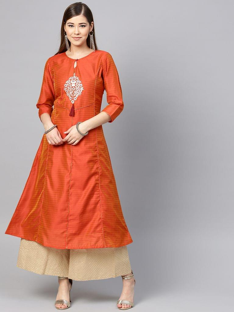 Yufta Women Rust Orange Pittan Work Dual-Toned A-Line Kurta