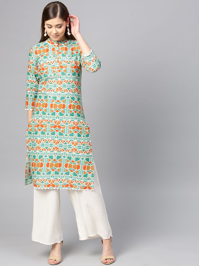 Yufta Women Green & Orange Printed Straight Kurta