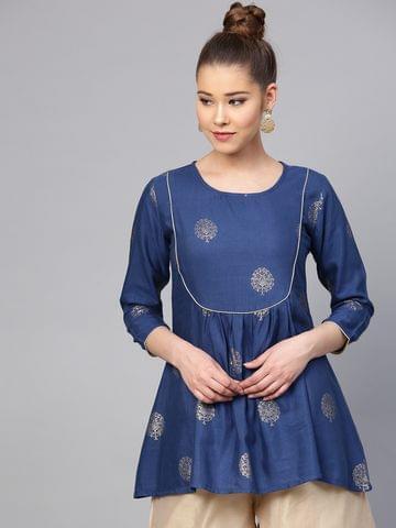 Yufta Navy Blue & Golden Printed Tunic