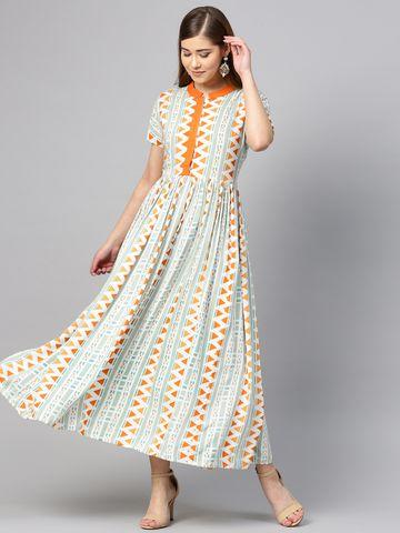 Yufta Women Green & Orange Printed Maxi Dress