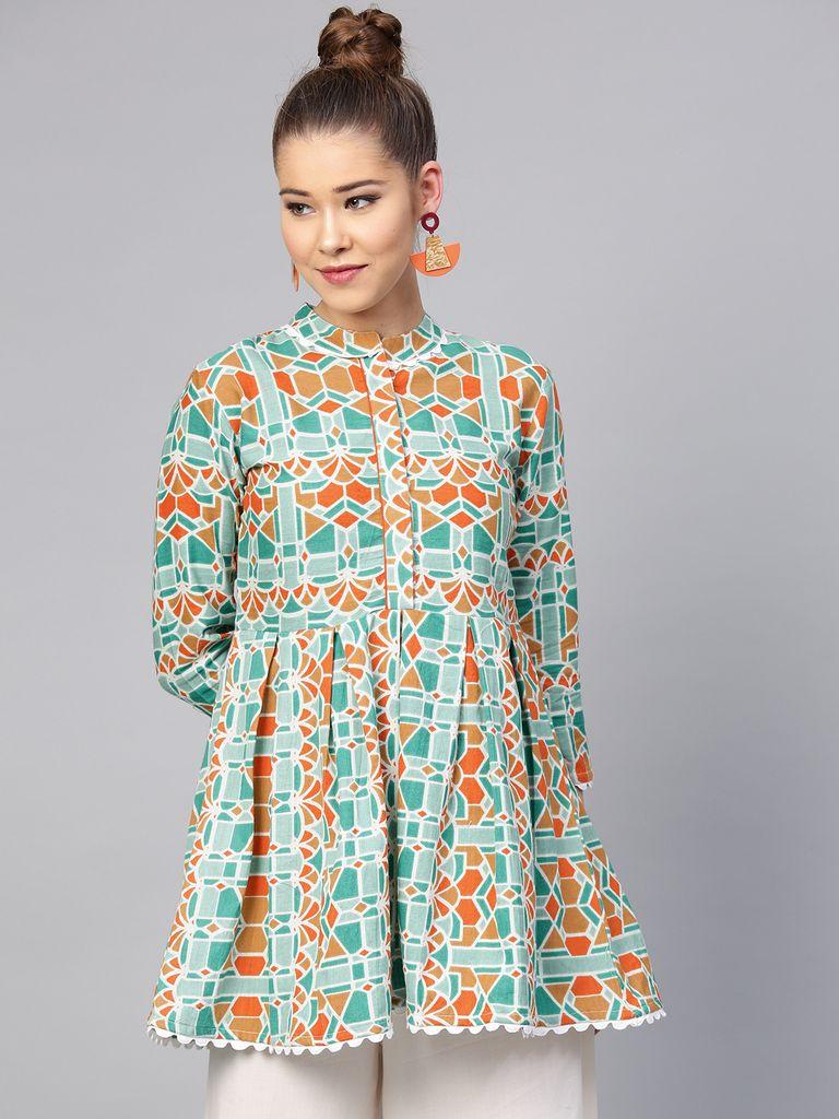 Yufta Green & Orange Printed Tunic