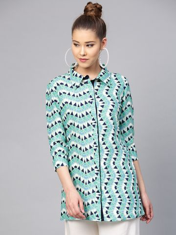 Yufta Green & Navy Blue Printed Tunic
