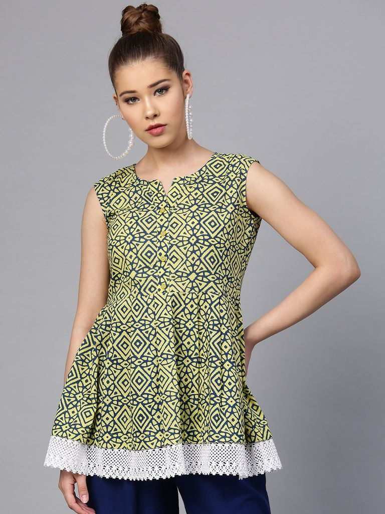 Yufta Green & Navy Blue Printed Tunic