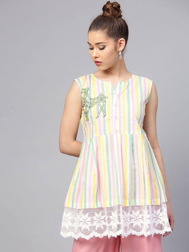 Yufta White & Pink Striped Tunic