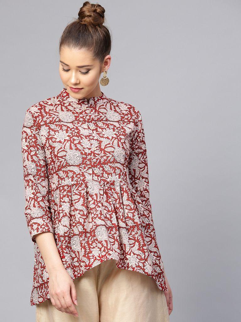 Yufta Red & Pink Printed Tunic