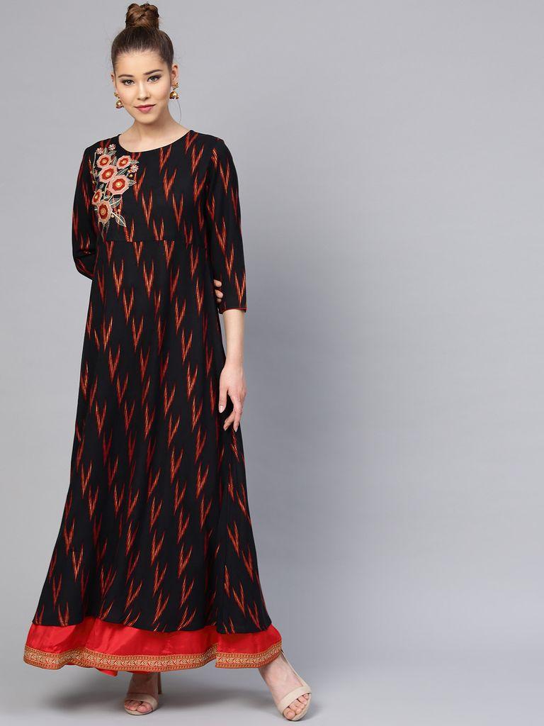 Yufta Women Black & Red Printed A-Line Kurta
