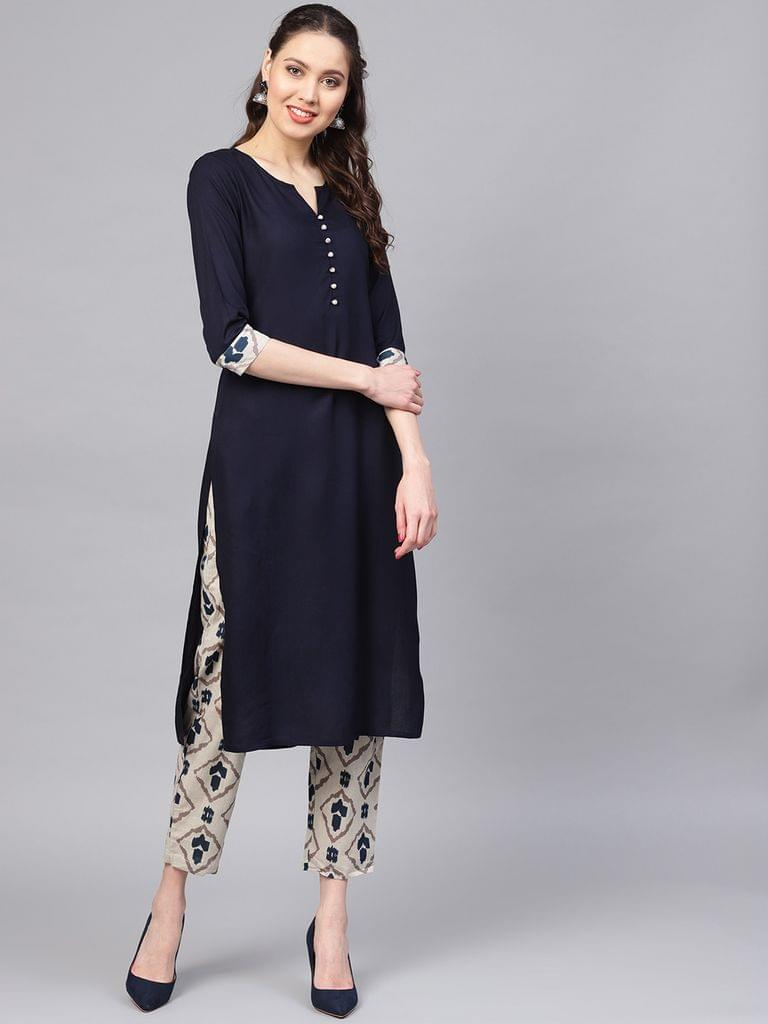 Women Navy Blue & Grey Solid Kurta with Trousers