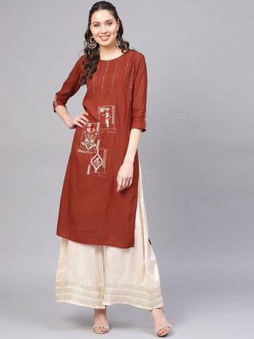Women Rust Brown Embroidered Straight Kurta